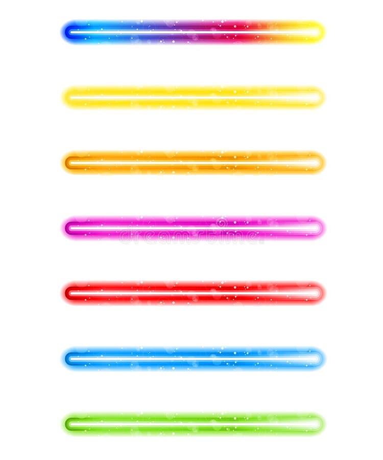 färgrikt neon för laser-lampor stock illustrationer