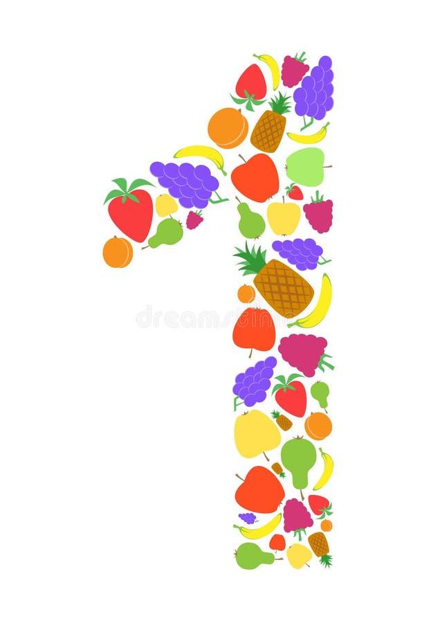Färgrikt nummer 1 som formas av plan frukt, planlägger, Arial royaltyfri illustrationer