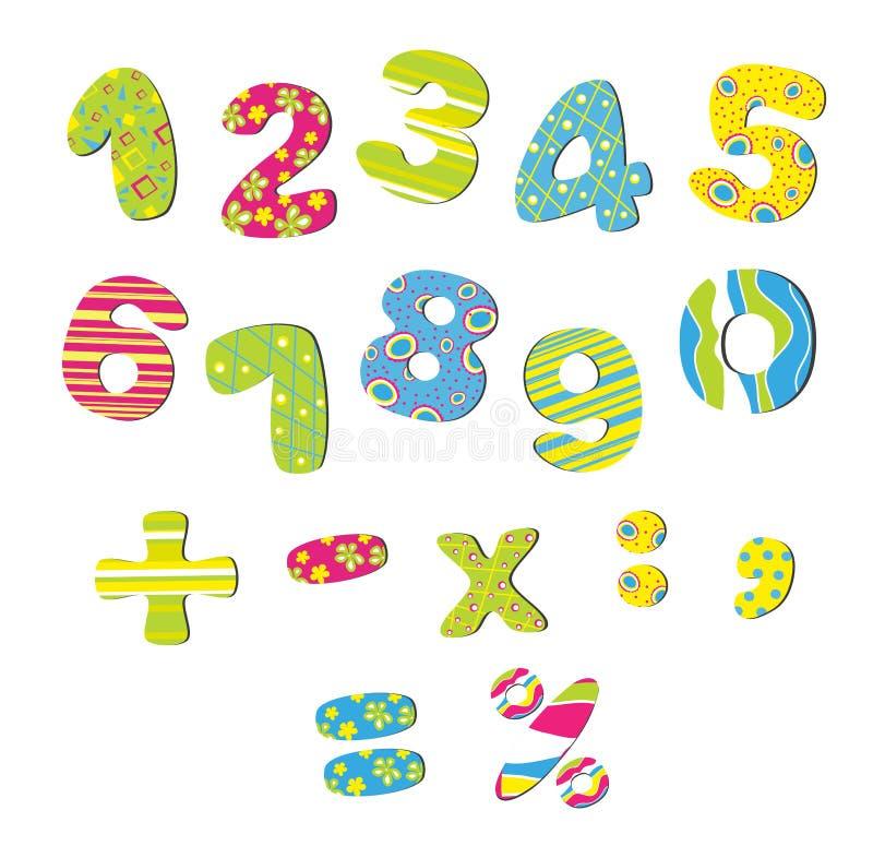 Färgrikt numrerar för barn royaltyfri illustrationer