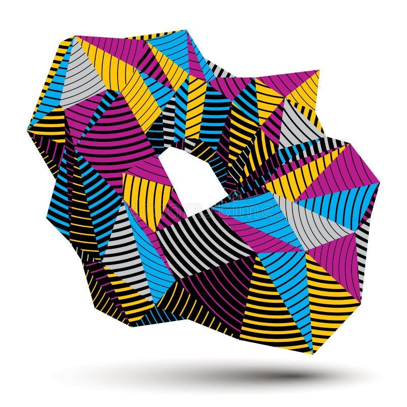 Färgrikt objekt för rumslig vektor, diagram wi för teknologi 3d stock illustrationer