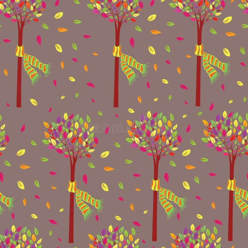 Färgrikt och härligt litet träd i den sömlösa modellvektorn för nedgång stock illustrationer
