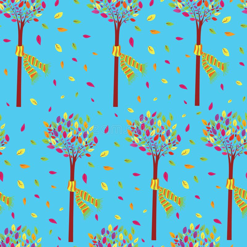 Färgrikt och härligt litet träd i den sömlösa modellvektorn för nedgång royaltyfri illustrationer