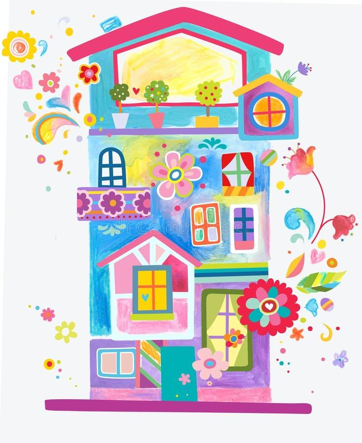 Färgrikt och roligt lägenhethus royaltyfri illustrationer