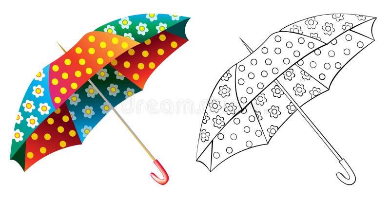 Färgrikt och svartvitt modellparaply stock illustrationer