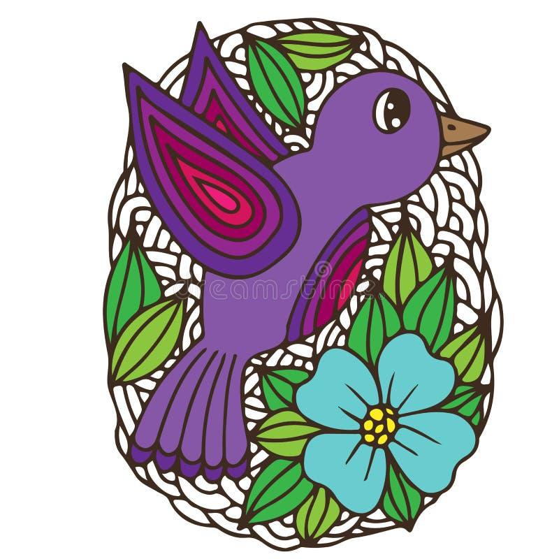 Färgrikt påskägg med fågeln och blomman på den vita bakgrunden royaltyfri illustrationer