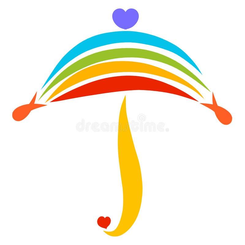 F?rgrikt paraply av regnb?gen och hj?rtor, modell royaltyfri illustrationer