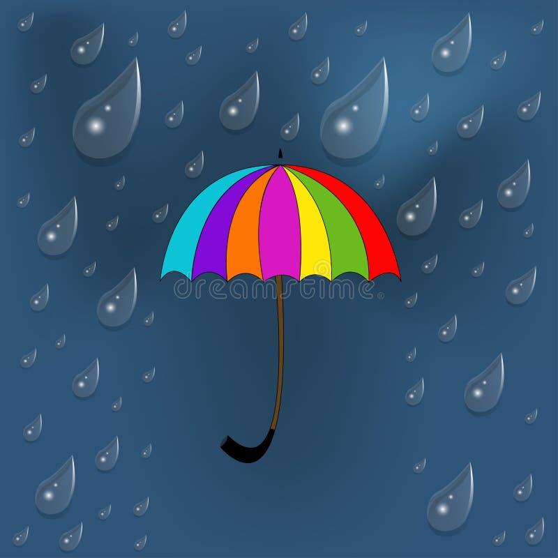 Färgrikt paraply under regn vektor illustrationer