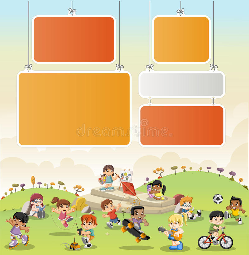 Färgrikt parkera med att spela för tecknad filmbarn vektor illustrationer