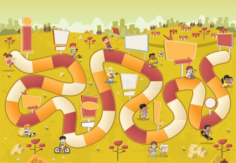 Färgrikt parkera med tecknad filmbarn som spelar över en brädelek vektor illustrationer