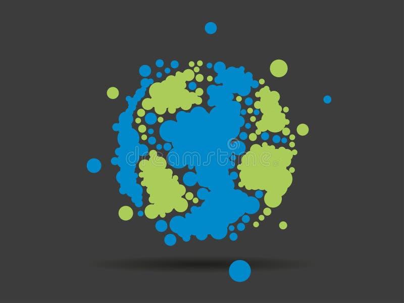 Färgrikt prickigt geometriskt diagram för affär för jordjordklotsfär som isoleras på ljus vit bakgrund royaltyfri illustrationer