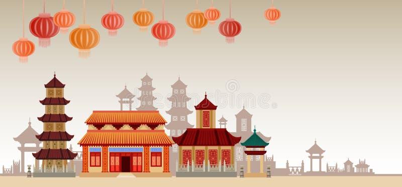 Färgrikt prydnadbaner för kinesiska traditionella abstrakta byggnader stock illustrationer