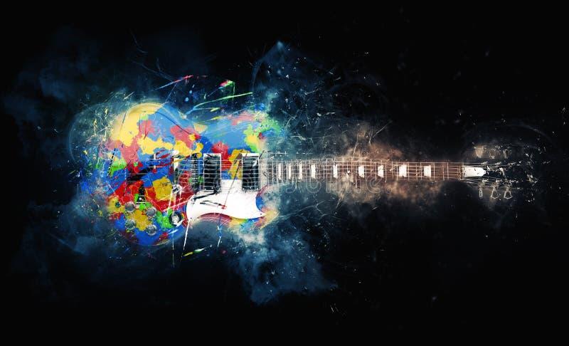 Färgrikt psykedeliskt vaggar gitarren stock illustrationer