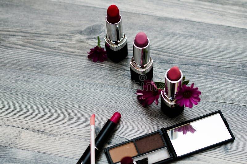 Färgrikt pulversmink för högt mode Det purpurfärgade sminket och färgrikt ljust spikar Närbild av framsidan för Vogue stildam, ab fotografering för bildbyråer