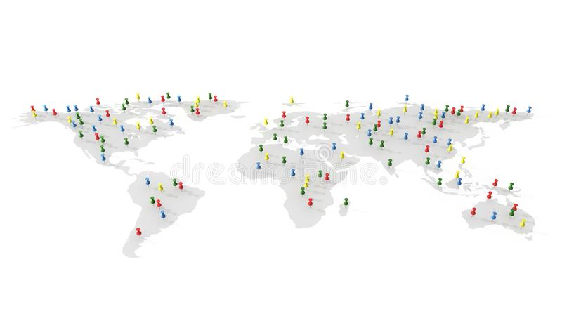 Färgrikt pushben, häftstift på världskartan, illustration 3d royaltyfri illustrationer