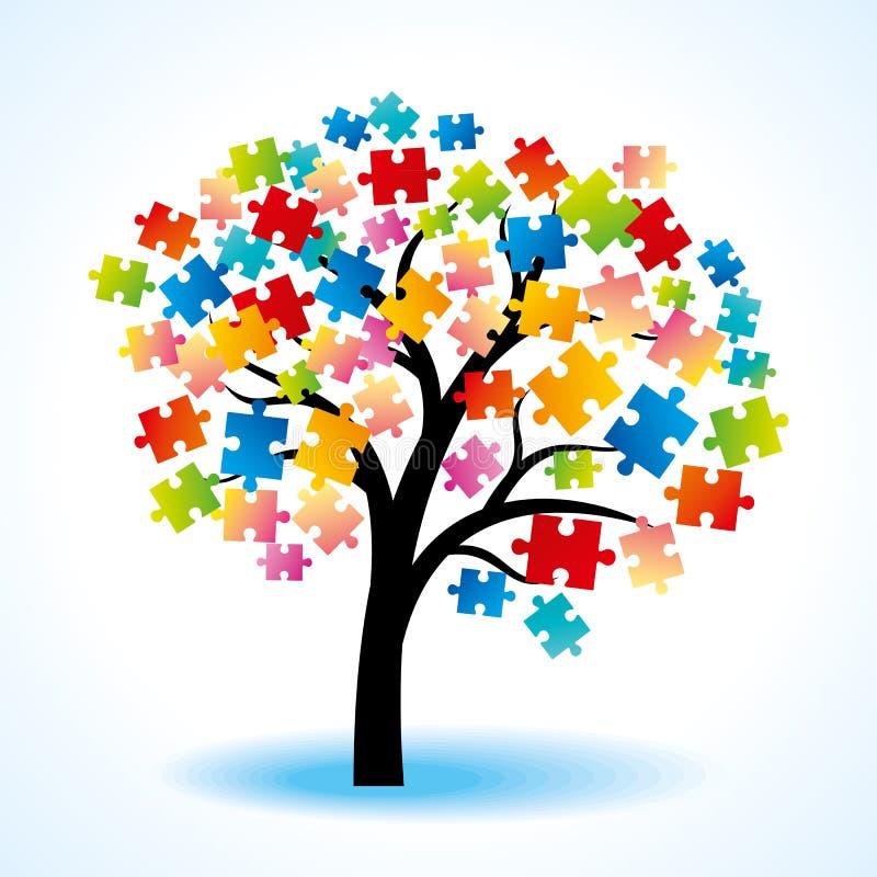 Färgrikt pussel för abstrakt tree royaltyfri illustrationer