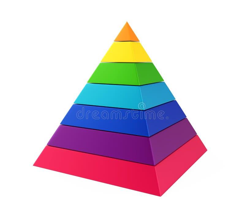 Färgrikt pyramiddiagram royaltyfri illustrationer