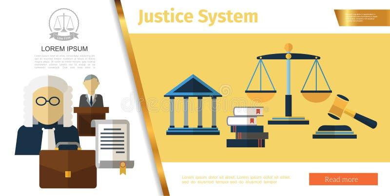 Färgrikt rättsväsenbegrepp stock illustrationer