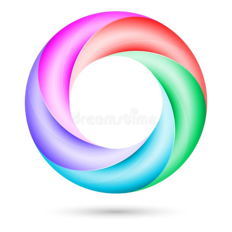 Färgrikt röra sig i spiral ringer vektor illustrationer