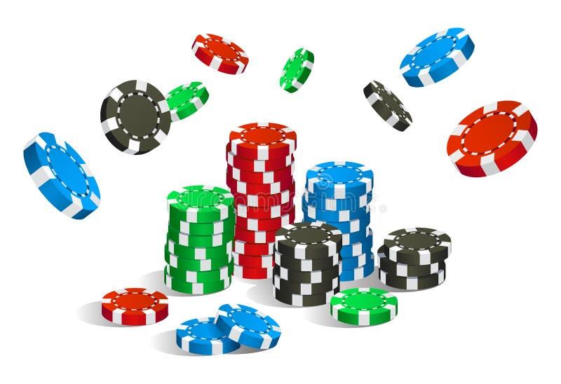 Färgrikt rött, grönt, blått och svart isolerade kasinochipflyg och bunt vektor illustrationer