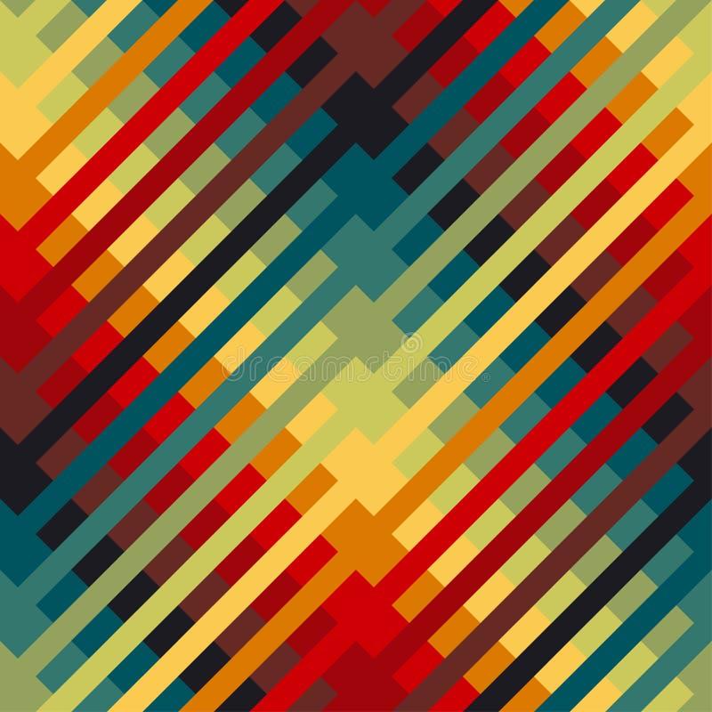 Färgrikt repeatable motiv med diagonala linjer stock illustrationer