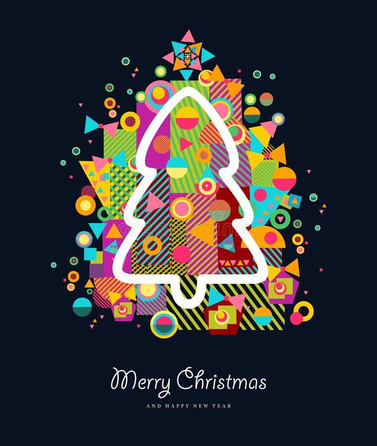 Färgrikt retro hälsningkort för julgran vektor illustrationer