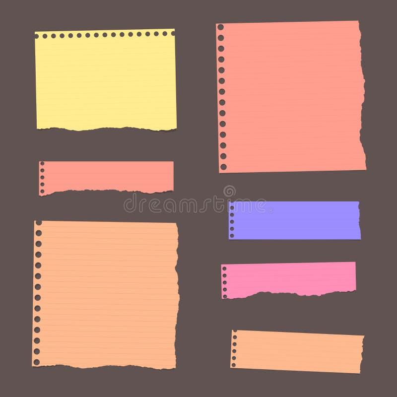 Färgrikt rivit sönder fodrat tomt anmärkningspapper klibbas på den mörka väggen vektor illustrationer