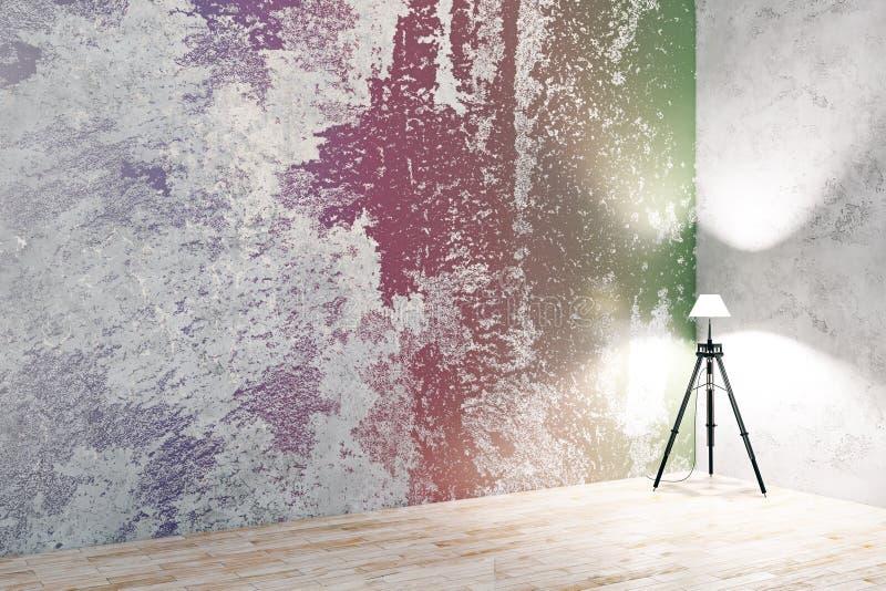 Färgrikt rum med den tomma väggen royaltyfri illustrationer