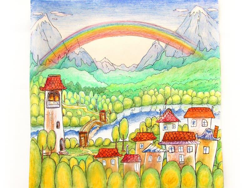 Färgrikt sagalandskap med en liten stad, en flod, berg och en regnbåge med kulöra blyertspennor royaltyfri illustrationer