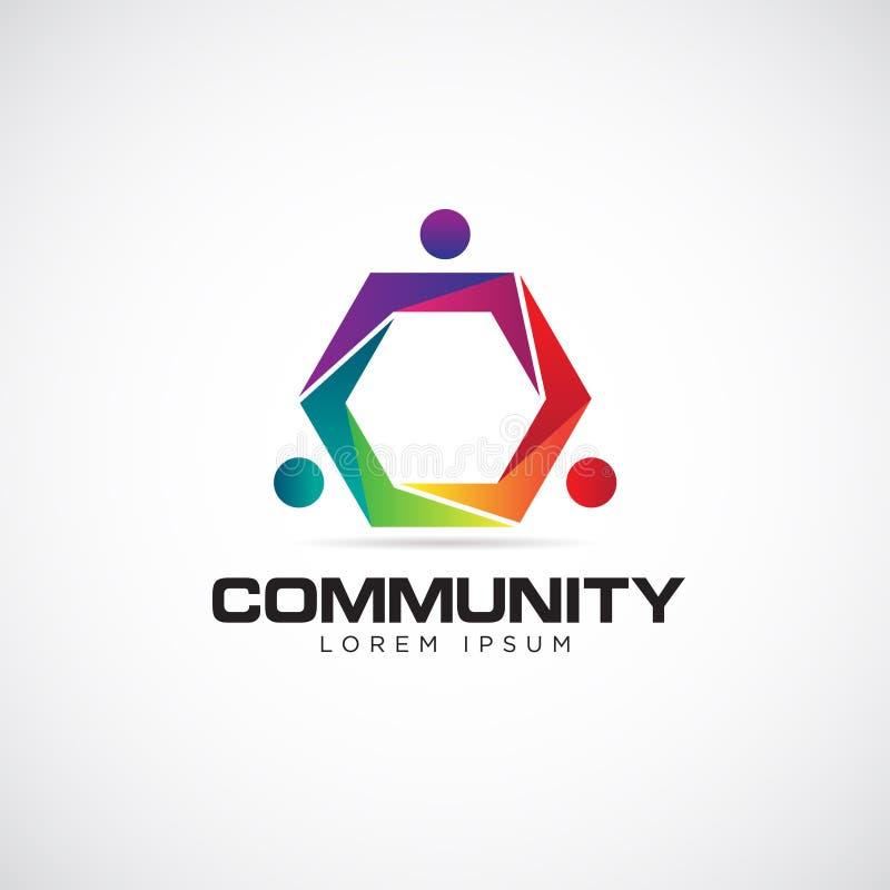Färgrikt sammanfoga gemenskap Logo Symbol Icon vektor illustrationer