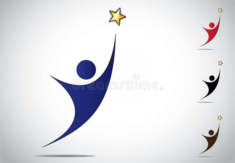 Färgrikt segra för person eller symbol för prestationframgångsymbol stock illustrationer