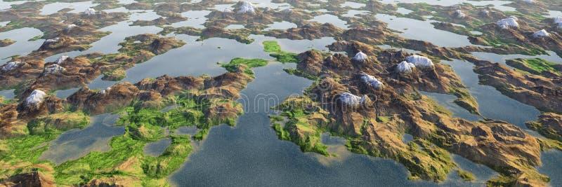 Färgrikt sjö- och berghöglandlandskap, panorama- flyg- sikt av miniatyrvärlden vektor illustrationer