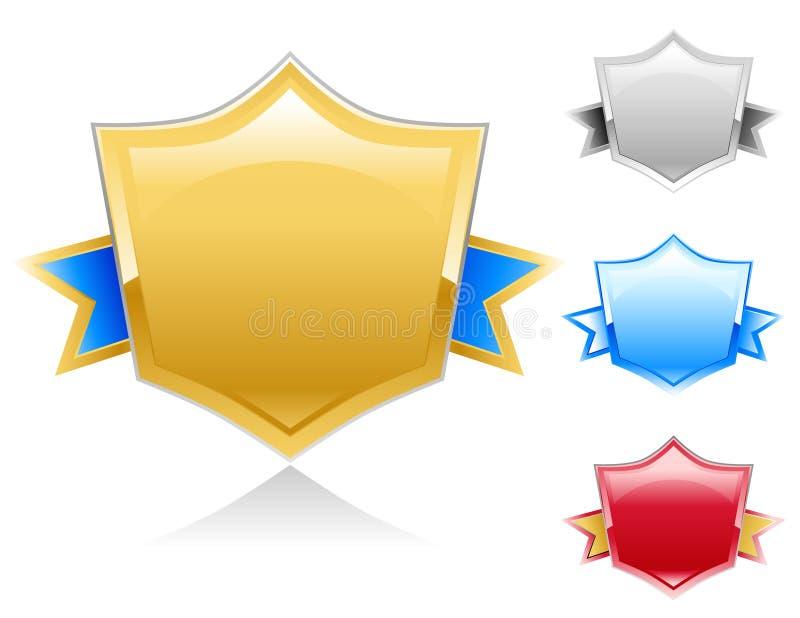 färgrikt sköldtecken för utmärkelse royaltyfri illustrationer
