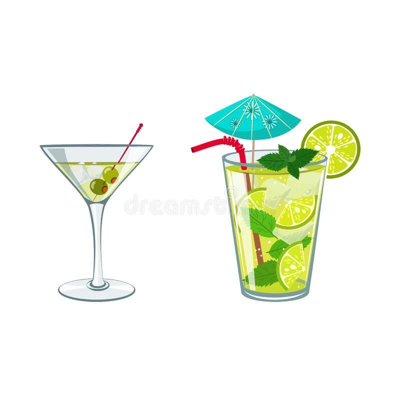 färgrikt skissa av alkoholcoctailar, och annat dricker stock illustrationer