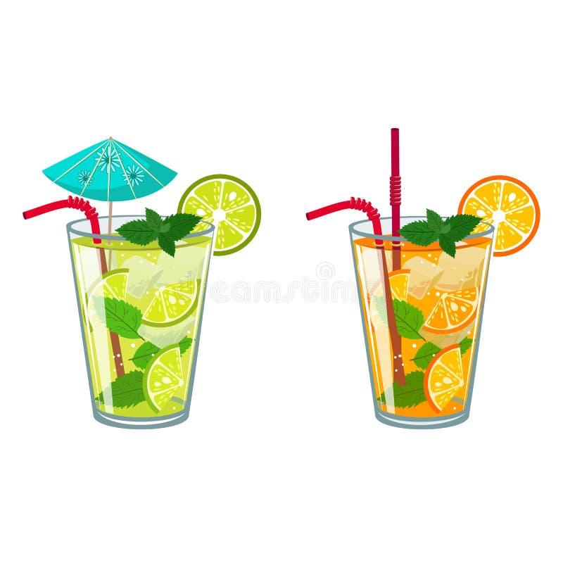 färgrikt skissa av alkoholcoctailar, och annat dricker royaltyfri illustrationer