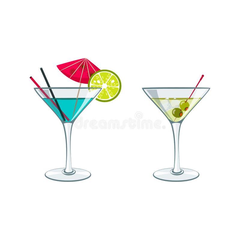 färgrikt skissa av alkoholcoctailar, och annat dricker vektor illustrationer