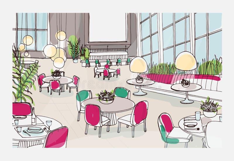 Färgrikt skissa av den moderna restaurang- eller kaféinre som möbleras med eleganta tabeller, stolar, hängeljus freehand vektor illustrationer