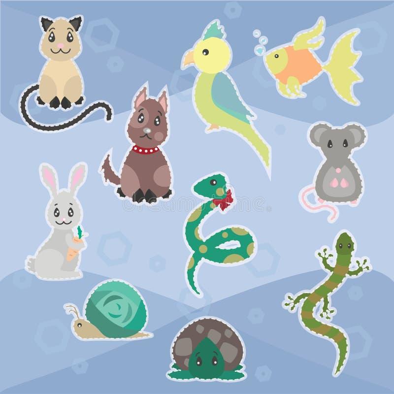 Färgrikt skissa den trevliga husdjursamlingen vektor illustrationer