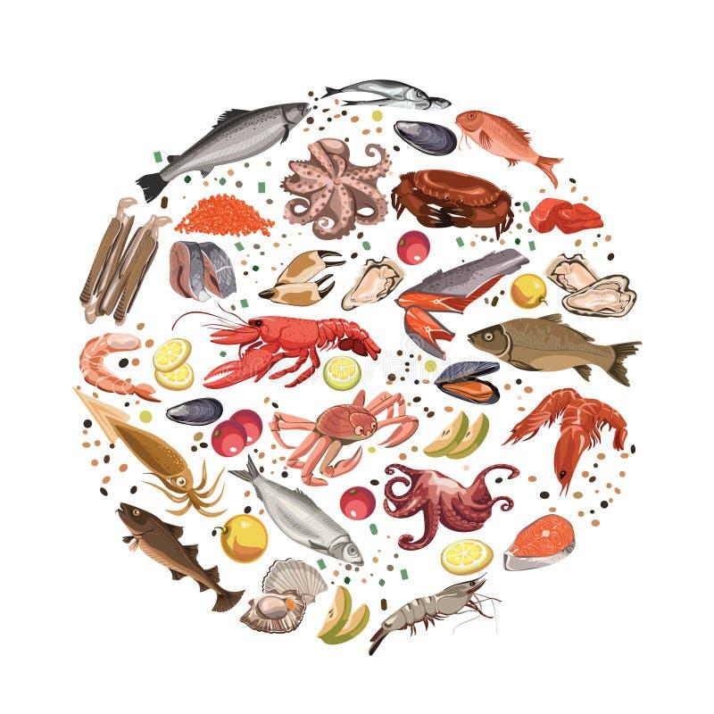 Färgrikt skissa det runda begreppet för havs- produkter stock illustrationer