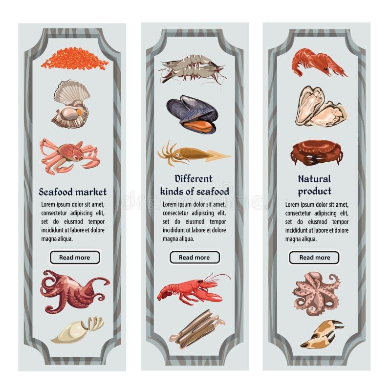 Färgrikt skissa naturliga havs- vertikala baner stock illustrationer