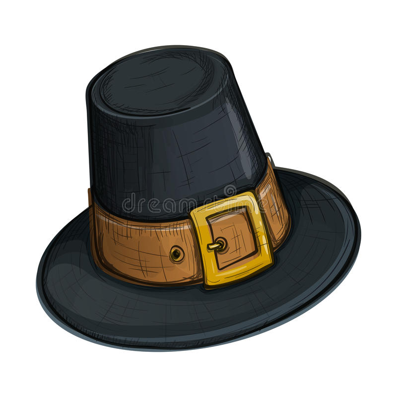 Färgrikt skissa stil vallfärdar hatten vektor illustrationer