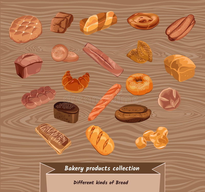 Färgrikt skissa uppsättningen för nytt bröd royaltyfri illustrationer