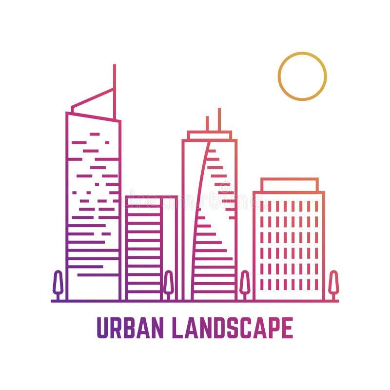 Färgrikt stads- landskap i linjen vektorstil stock illustrationer