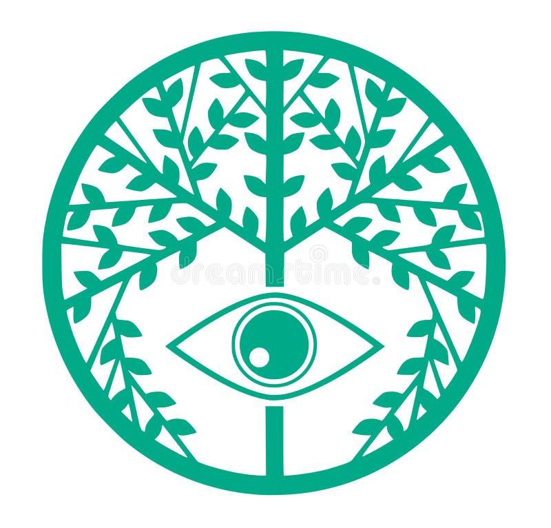 Färgrikt stiliserat träd med ögat vektor illustrationer