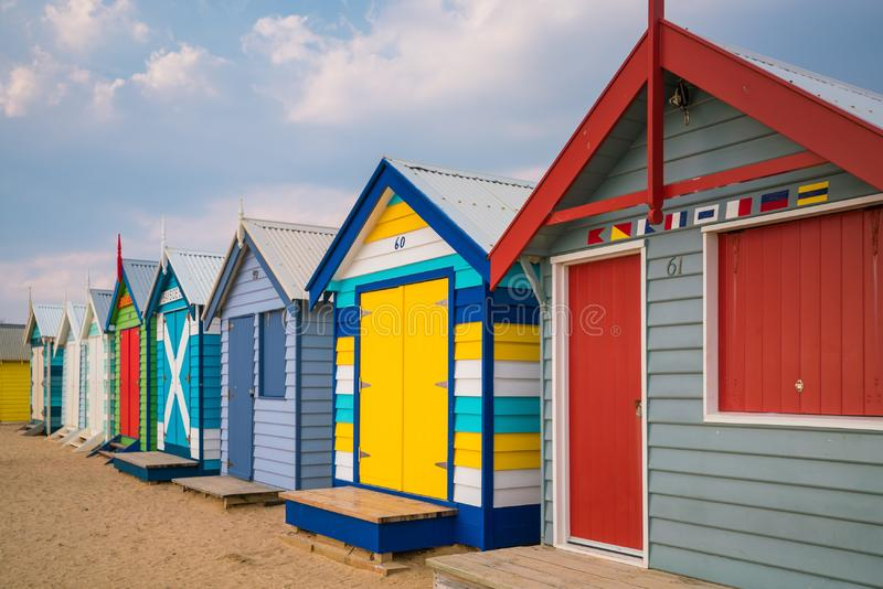 Färgrikt strandhus på Brighton Beach, Melbourne arkivfoto