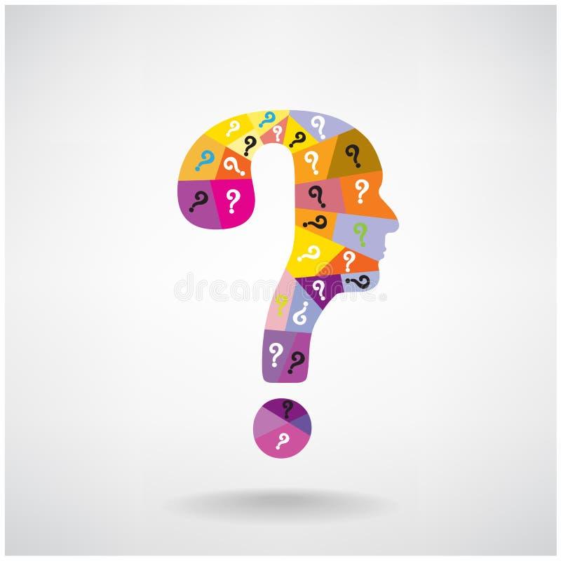 Färgrikt symbol för huvud för man för frågefläck stock illustrationer