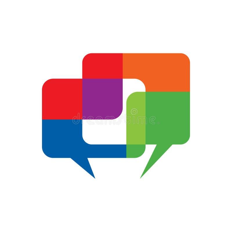 Färgrikt tala prata symbol för dialogbubblakommunikation vektor illustrationer
