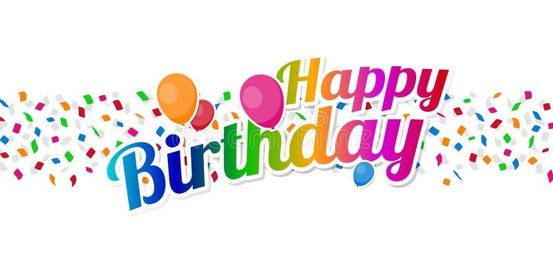 Färgrikt tecken för lycklig födelsedag med ballonger över konfettier royaltyfri foto