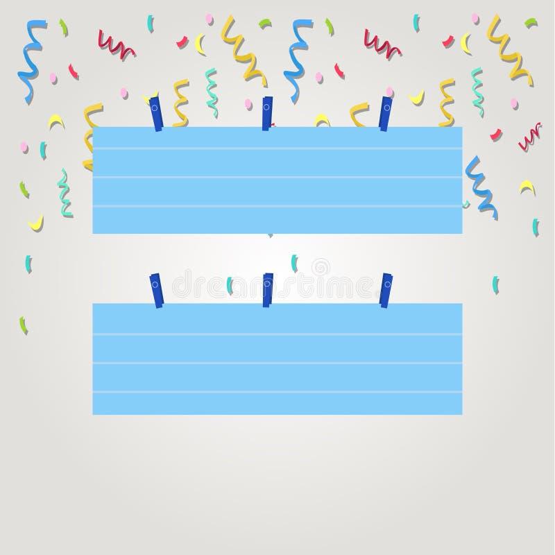 Färgrikt tomt fodrat pappers- ark för remsa som två format hänger genom att använda klädnypan Idérik tryckbar bakgrundsidé för ut royaltyfri illustrationer