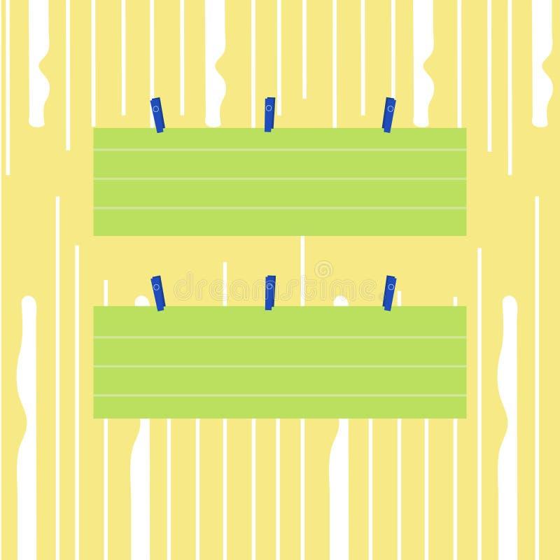 Färgrikt tomt fodrat pappers- ark för remsa som två format hänger genom att använda klädnypan Idérik tryckbar bakgrundsidé för ut stock illustrationer