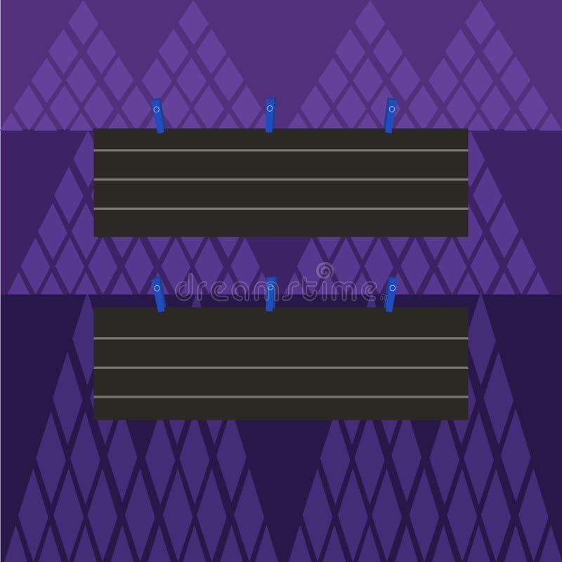 Färgrikt tomt fodrat pappers- ark för remsa som två format hänger genom att använda klädnypan Idérik tryckbar bakgrundsidé för ut vektor illustrationer